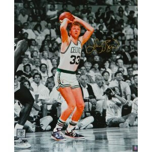 Larry Bird Signed Boston Celtics Jump Shot Spotlight 16×20 Photo