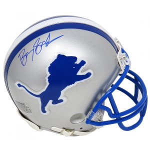 Barry Sanders Signed Lions Riddell Throwback Mini Helmet