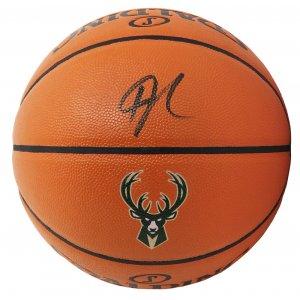 Giannis Antetokounmpo Signed Spalding Milwaukee Bucks Logo Game Series Replica NBA Basketball