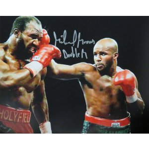 Michael Moorer Signed Boxing Puching Evander Holyfield 8×10 Photo w/Double M
