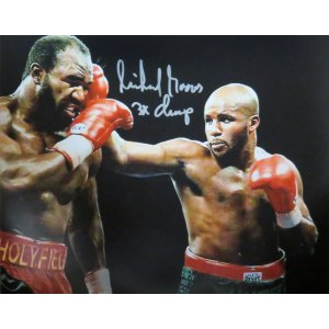 Michael Moorer Signed Boxing Puching Evander Holyfield 8×10 Photo w/3x Champ