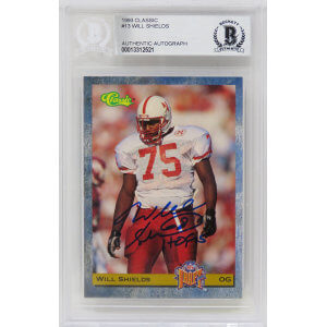 Will Shields Signed 1993 Classic Football Rookie Trading Card #13 w/HOF'15 – (Beckett Encapsulated)